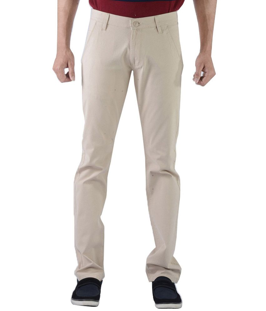 Vintage GhostWhite Cotton Lycra Slim Fit Casual Chinos