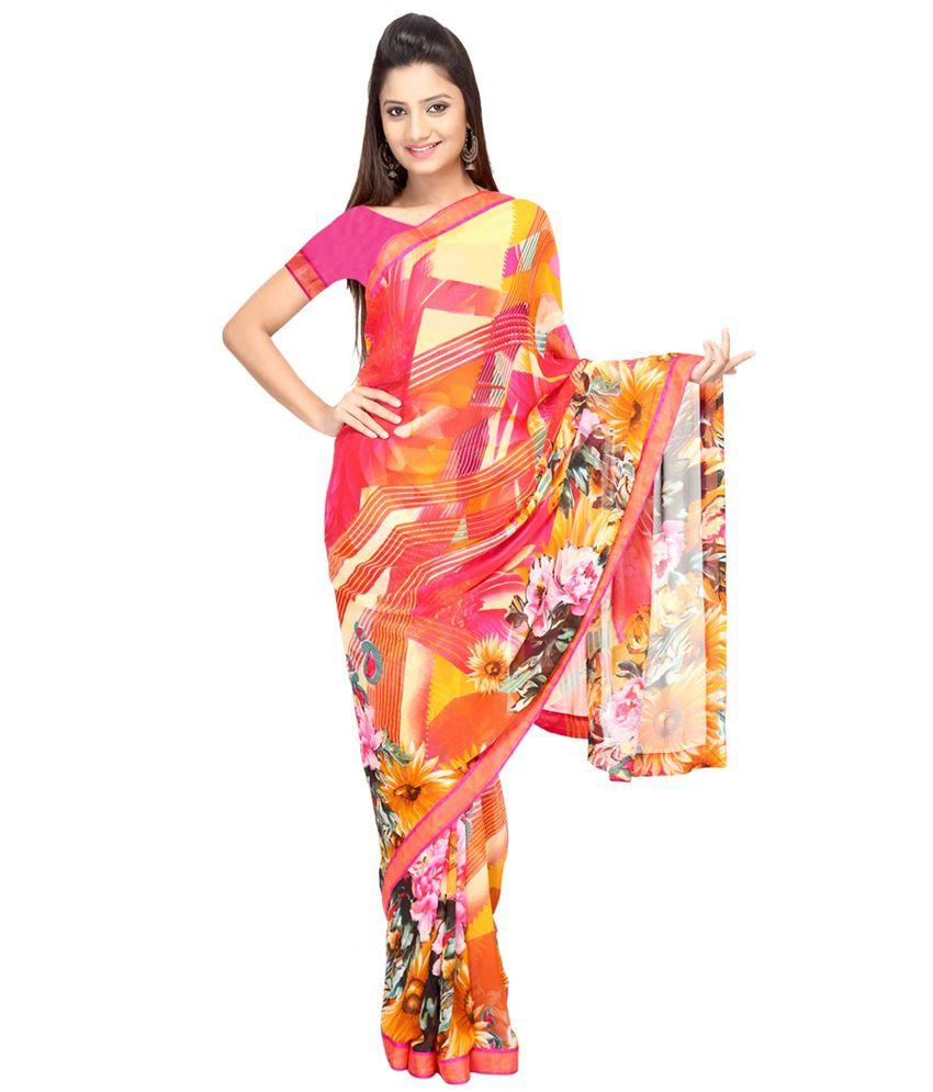 Vismit Multicolour Pure Georgette Printed Saree With Blouse Piece