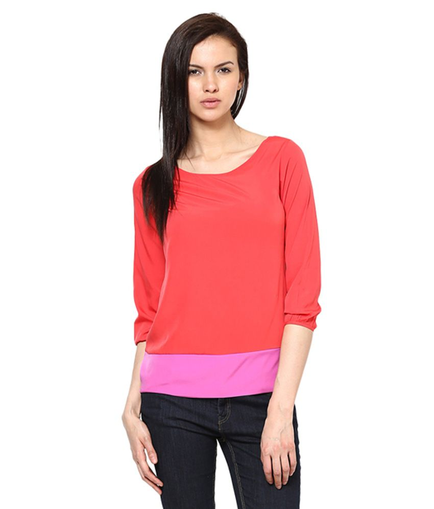 9dd0269d270b Harpa Women Orange Crepe Boat Neck 3/4Th Sleeves Top - Buy Harpa Women  Orange Crepe Boat Neck 3/4Th Sleeves Top Online at Best Prices in India on  Snapdeal