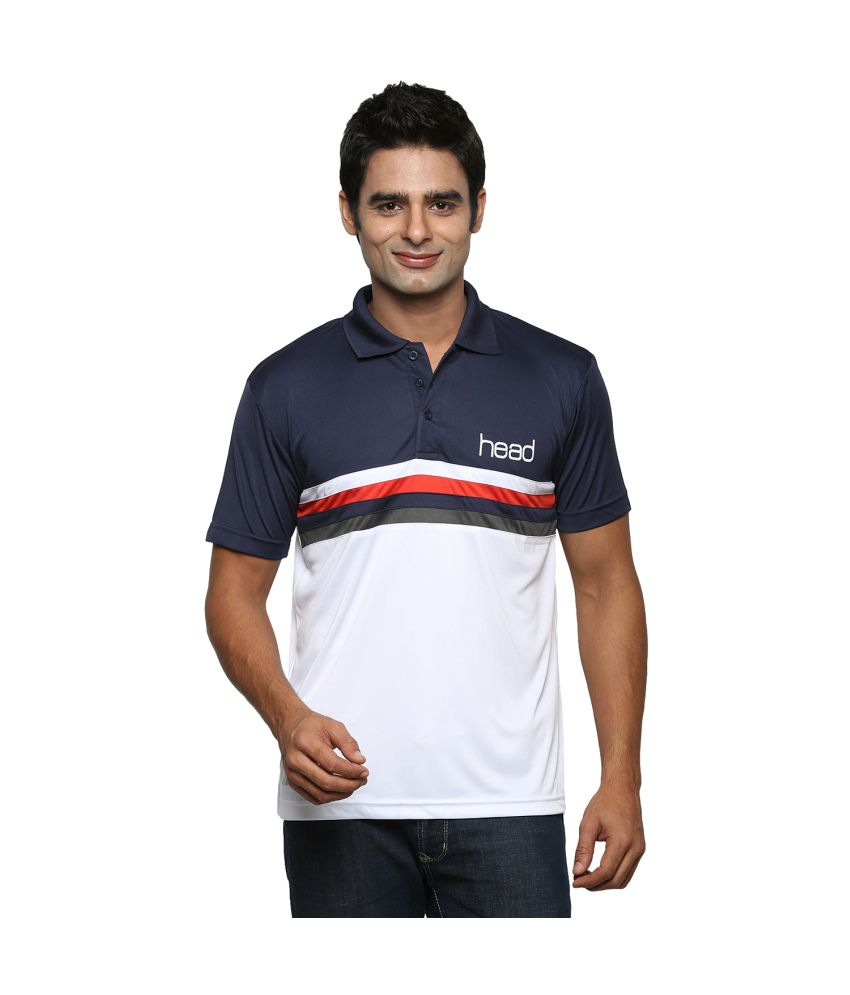 Head Polyester Navy Men Polo T-shirt