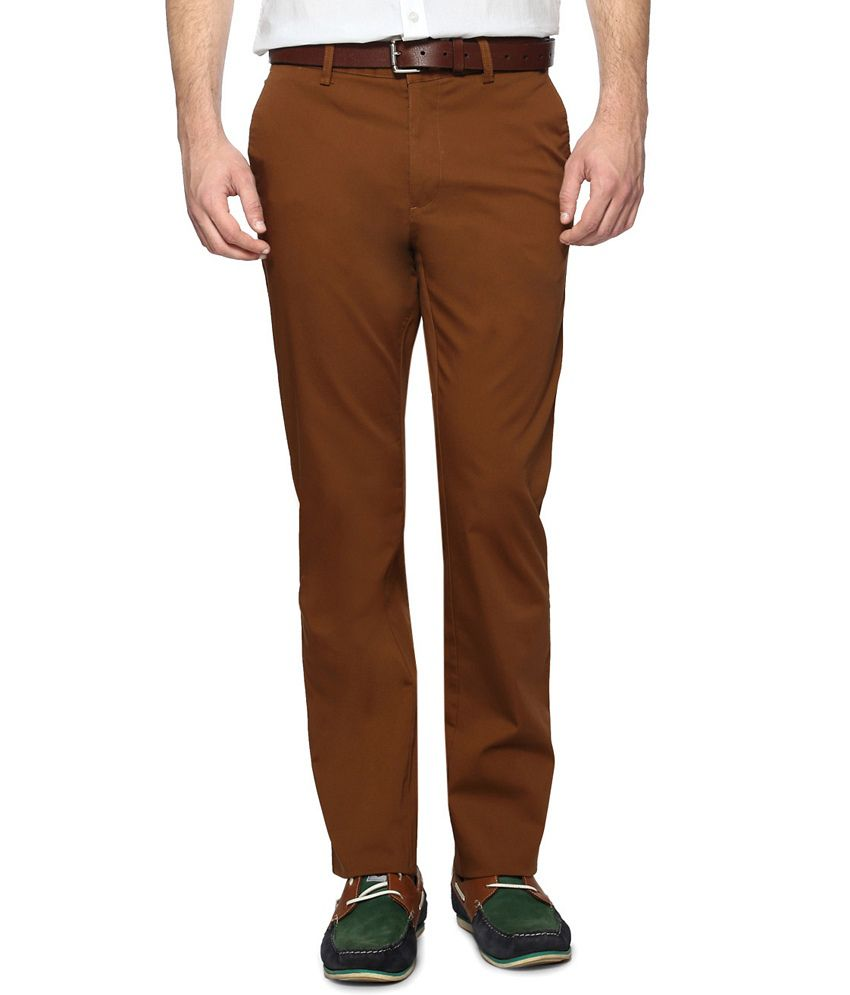 Allen Solly Brown Comfort Fit Business Casual Trousers