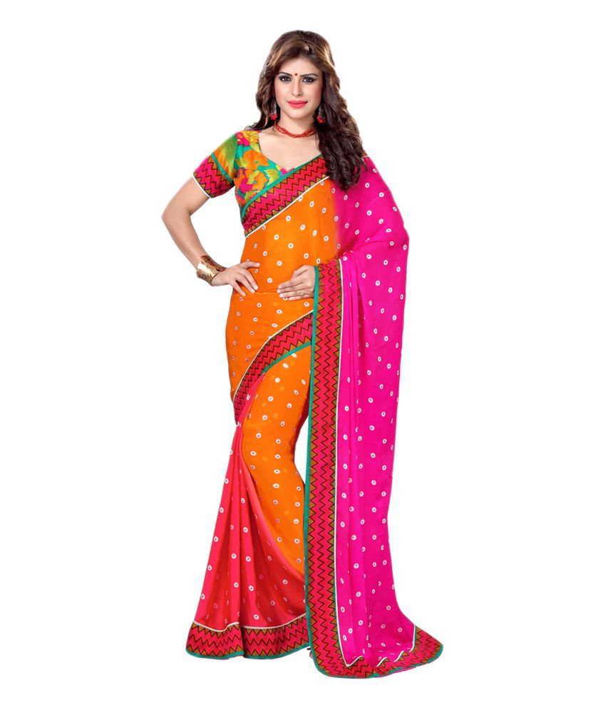0ad10f58b85be Vessido Multi Color Printed Satin Saree With Blouse Piece - Buy Vessido Multi  Color Printed Satin Saree With Blouse Piece Online at Low Price -  Snapdeal.com