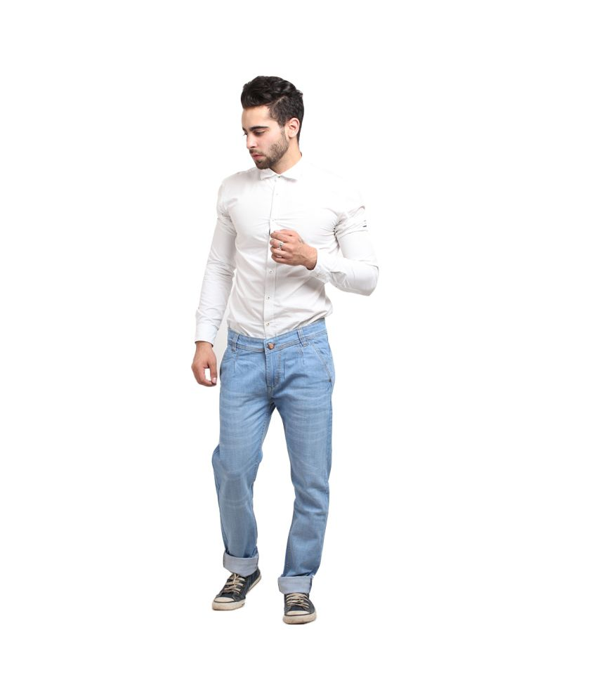 X-cross Blue Cotton Blend Faded Jeans