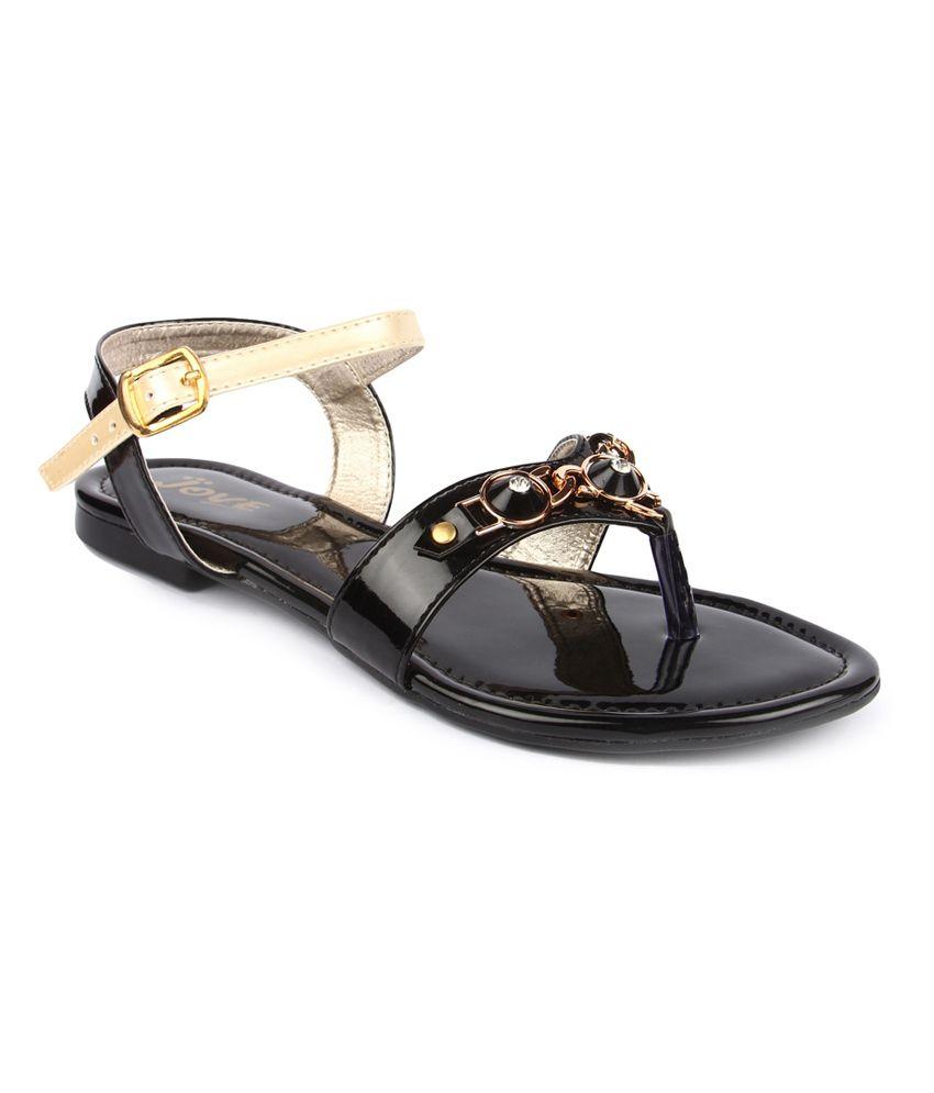 Jove Black Leather Sandals