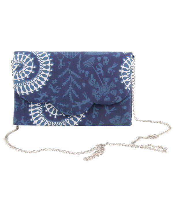 Merci Blue Canvas Cloth Magnit Button Clutch