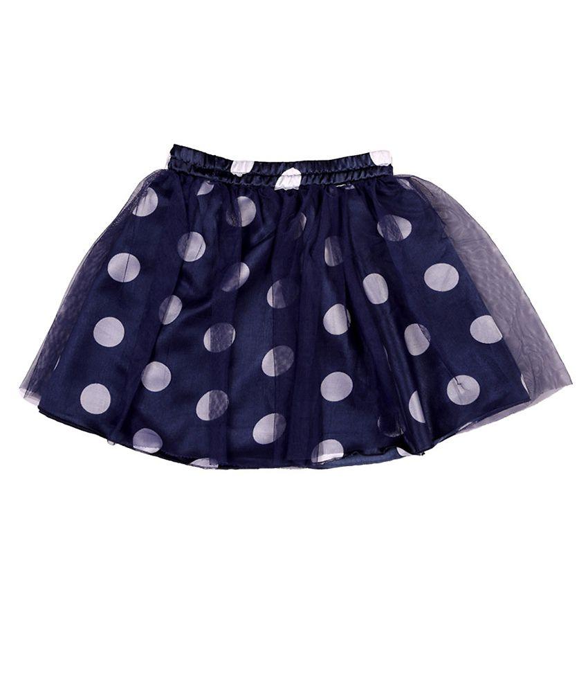 People Blue Polka Dot Layered Skirt