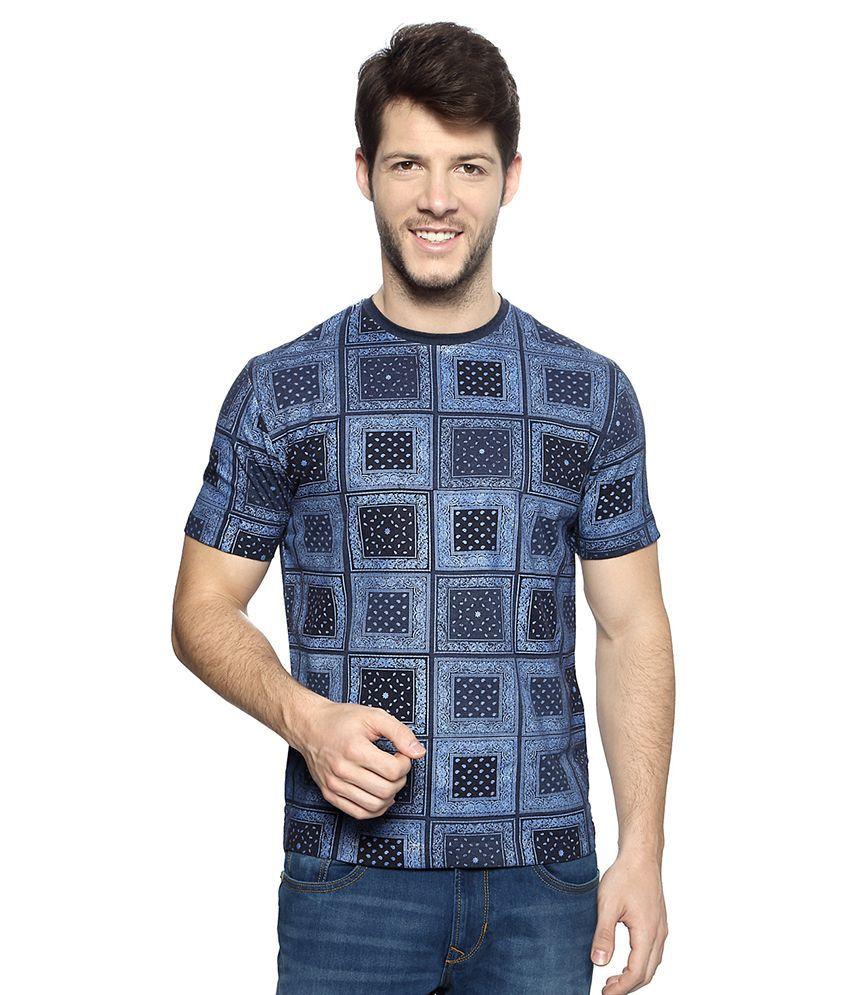 Peter England Blue Round Neck T Shirt