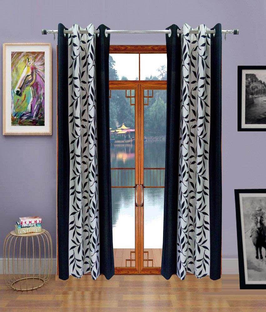 Homefab India Set of 2 Window Eyelet Curtains Floral Black