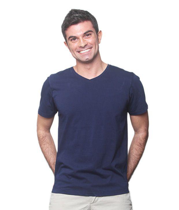 No Nasties Blue Cotton V-neck T-shirt