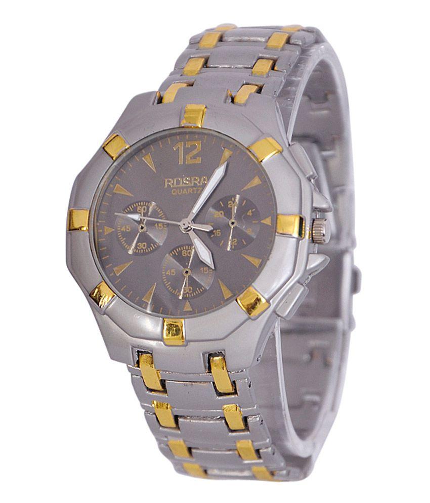 Rosra black metal strap analog watch consgbd buy rosra black metal strap analog watch for Rosra watches