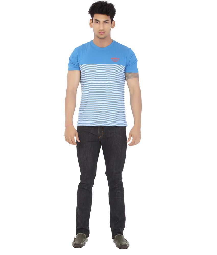 Wrangler Blue Cotton Half Sleeve Round Neck T-Shirt