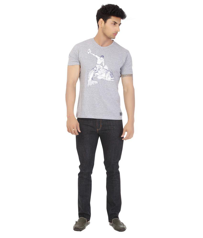 Wrangler Gray Cotton Half Sleeve Round Neck T-Shirt