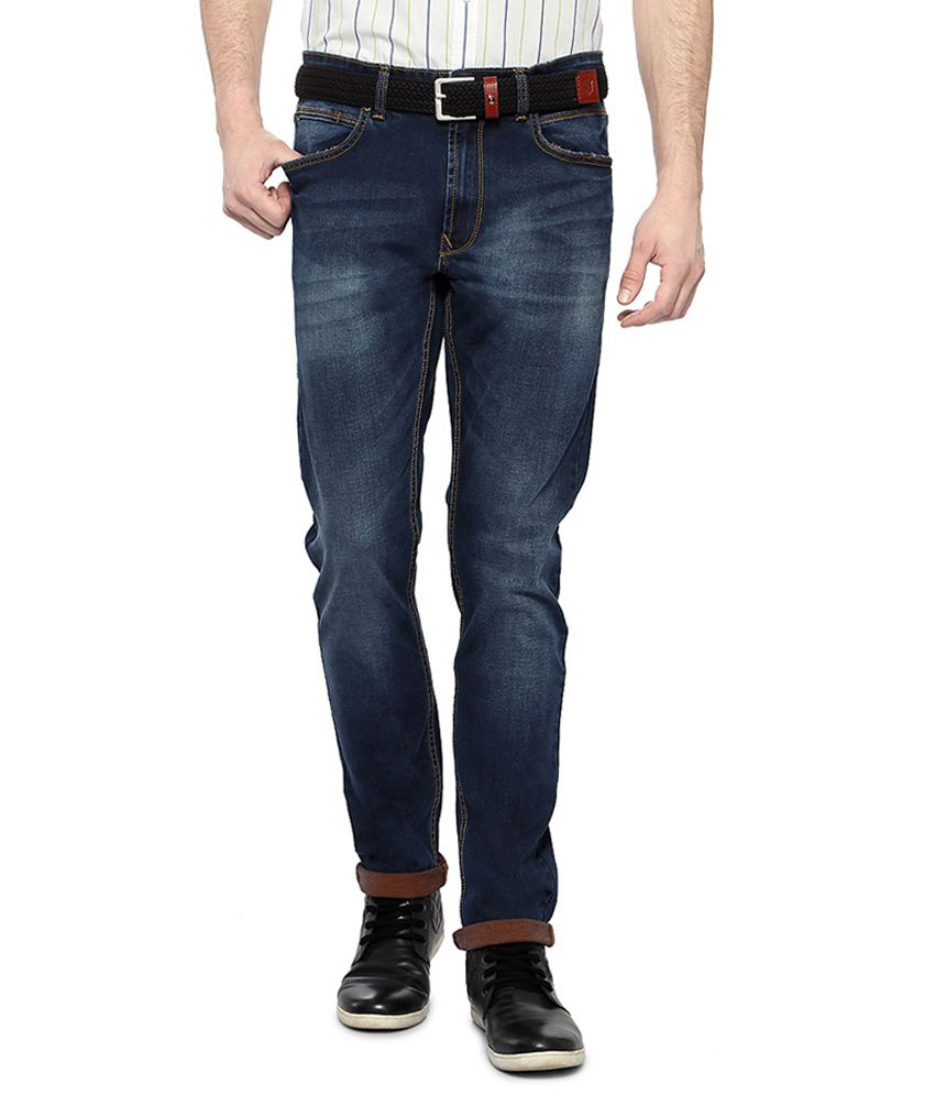 Peter England Blue Double Dyed Stretch Jeans