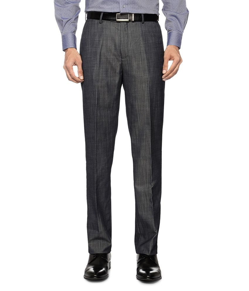 Peter England Dark Blue Textured Formal Trousers
