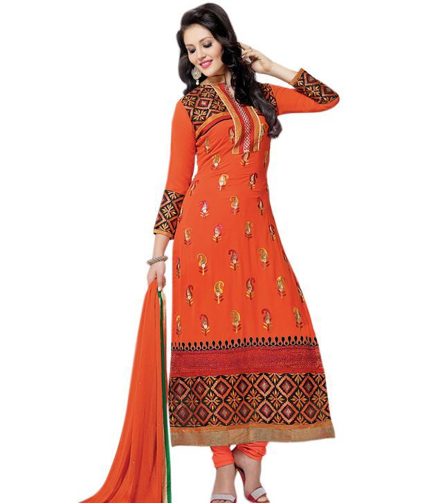 Isha Enterprise Orange Georgette Embroidered Semi Stitched Suit Anarkali Semi Stitched Suit