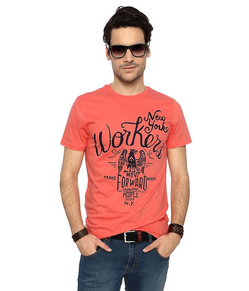 People Peach Cotton Print Slim Fit Half Sleeves T-Shirts