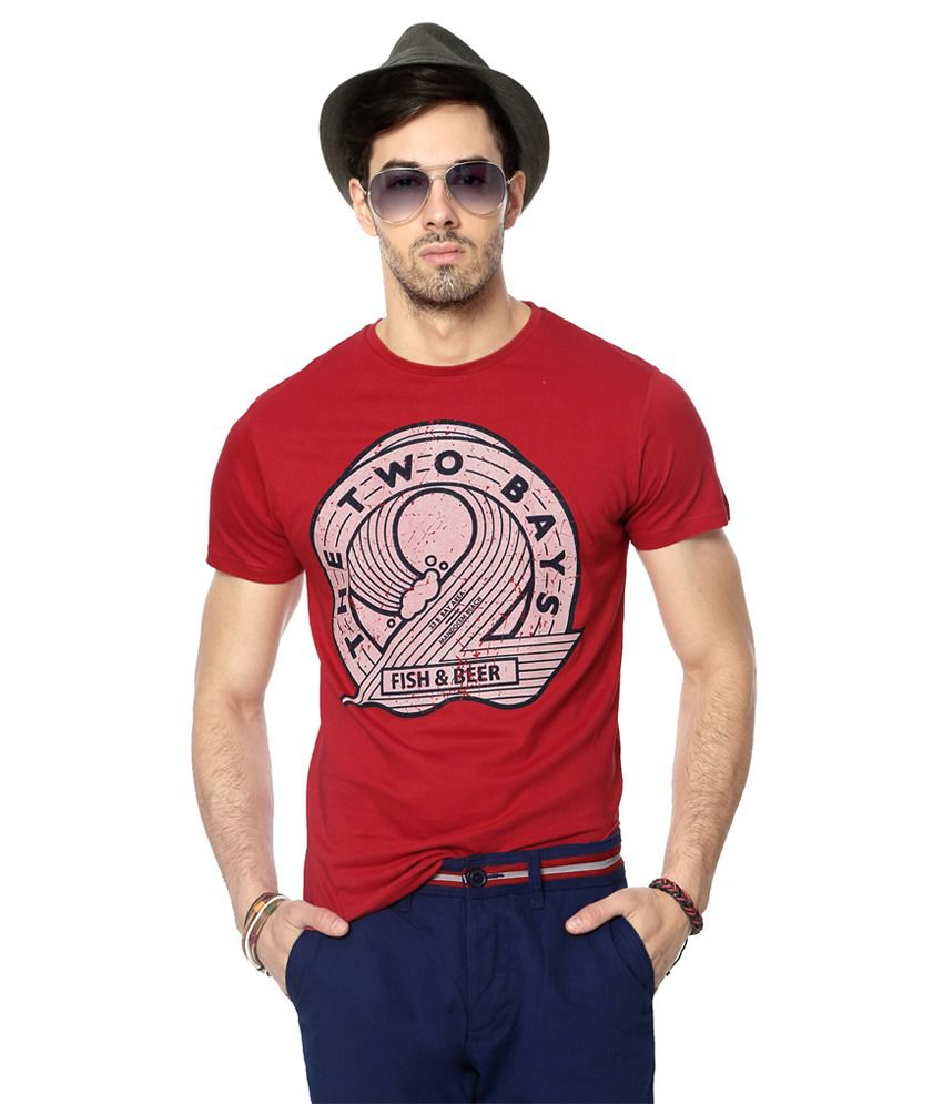 People Red Cotton Print Slim Fit Half Sleeves T-Shirts