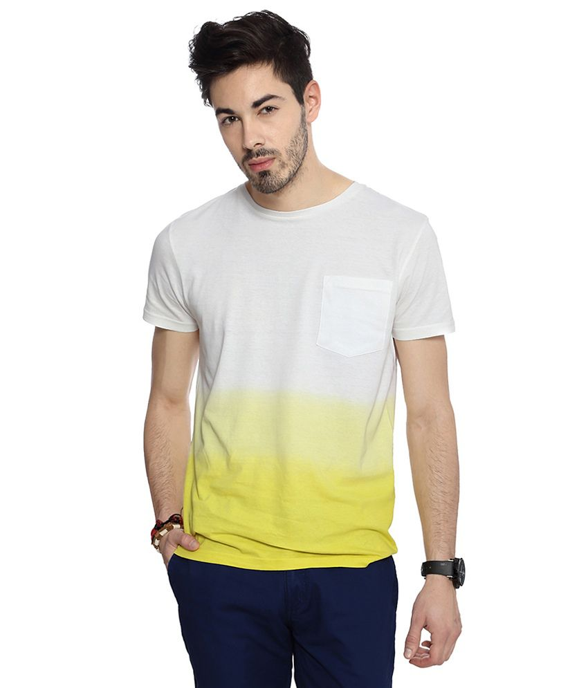 People White Cotton Print Slim Fit Half Sleeves T-Shirts