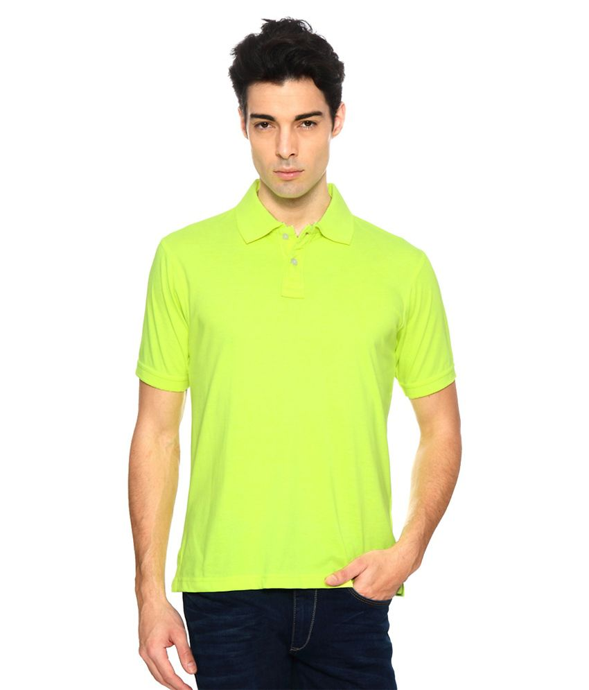 Peter England Green Solid Half Sleeves Casual Regular Fit T-Shirts