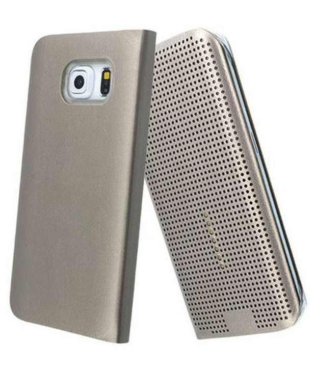 lowest price b36b1 5a889 Tommcase Dot View Sensor Flip Cover For Samsung Galaxy S6 Edge Gold