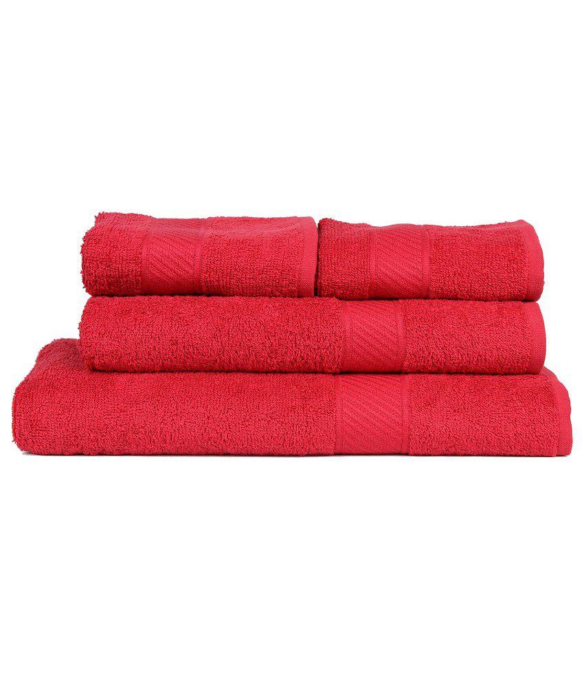 Trident Peach 4 Pcs Couple Bath Towel Set