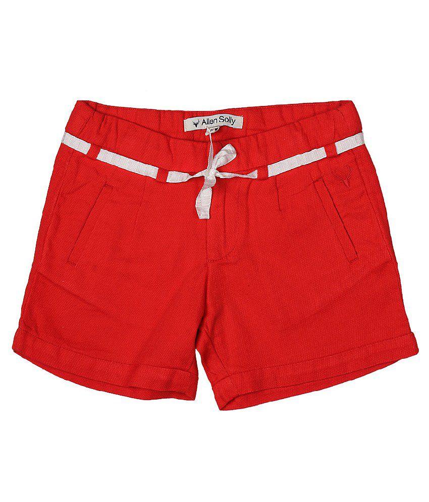 Allen Solly Red Solid Regular Fit Shorts