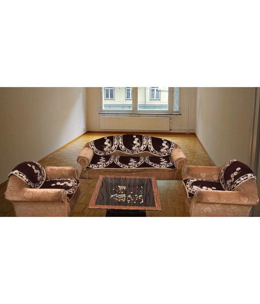 Bhavya Brown Chenille Sofa Cover