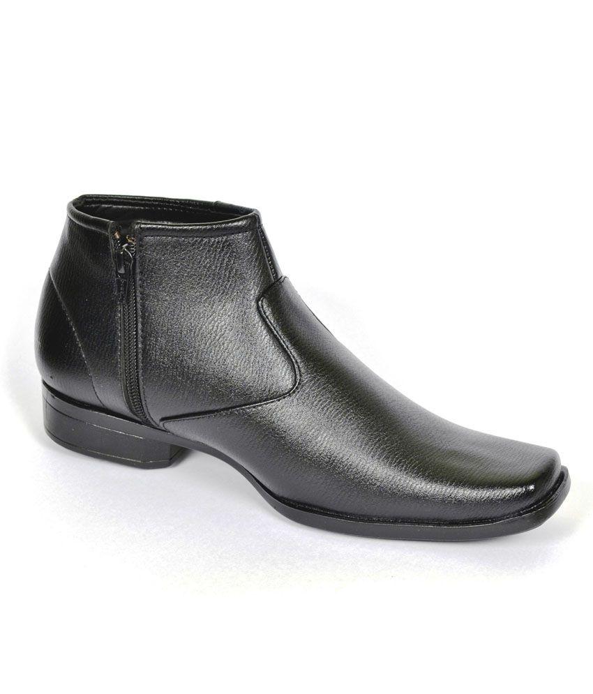Glatt Black Leather Slip-On Formal Shoes