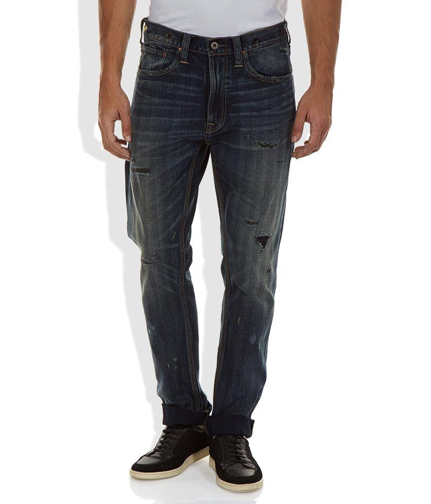 Lee Blue Distressed Regular Fit Jeans