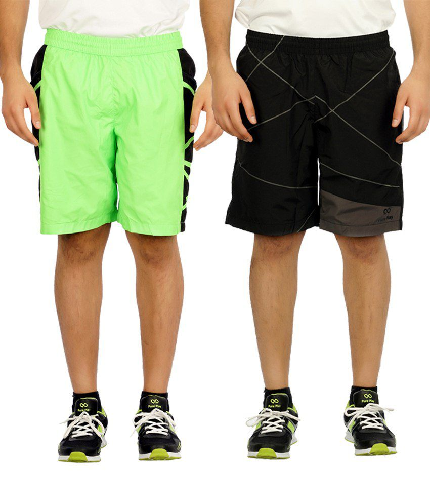 Pure Play Valuable Pack Of 2 Black & Lime Running Shorts