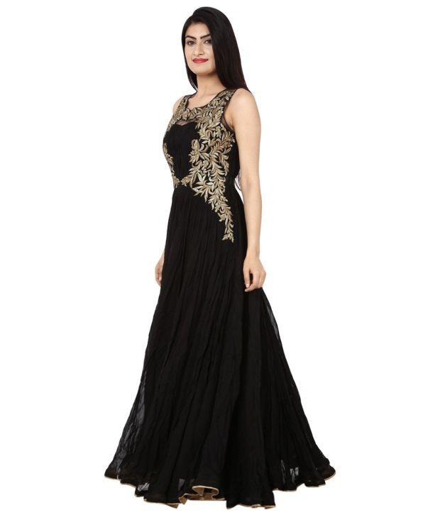 8a31f45c7 Saheli Black Georgette Partywear Long Gown Saheli Black Georgette Partywear  Long Gown ...