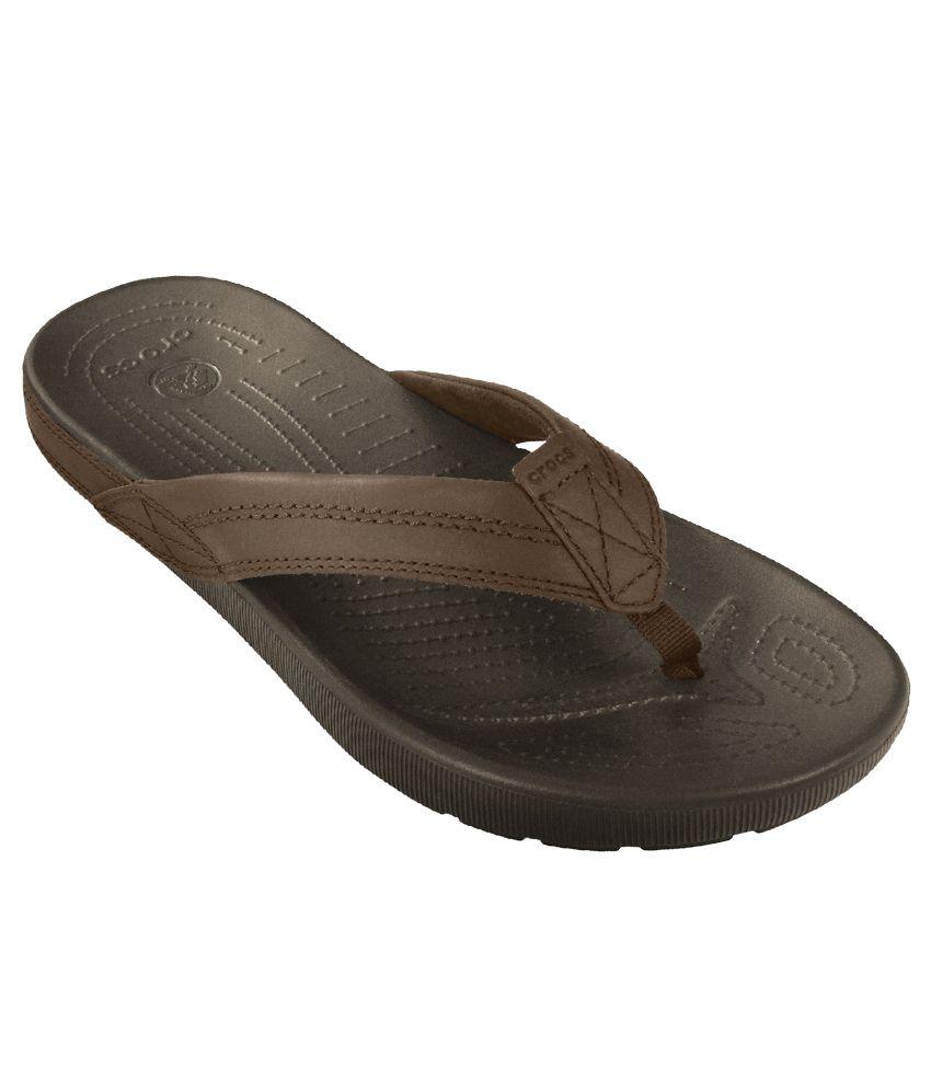 f6ba85a37 Crocs Relaxed Fit Croslite Brown Flip Flops Price in India- Buy Crocs  Relaxed Fit Croslite Brown Flip Flops Online at Snapdeal