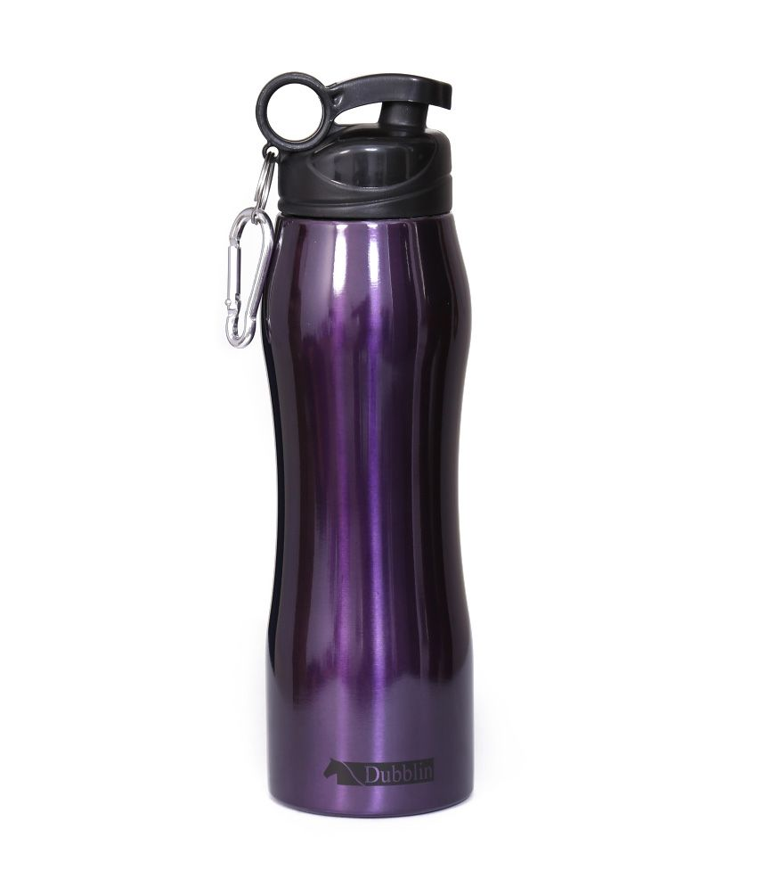 Sports Sipper Bottle: Dubblin Handy Purple Duro Stainless Steel Only COLD Sports
