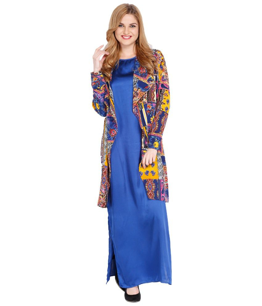 3d37229c83b Folklore Attractive Blue Maxi Dress With Multicoloured Long Shrug Price in  India