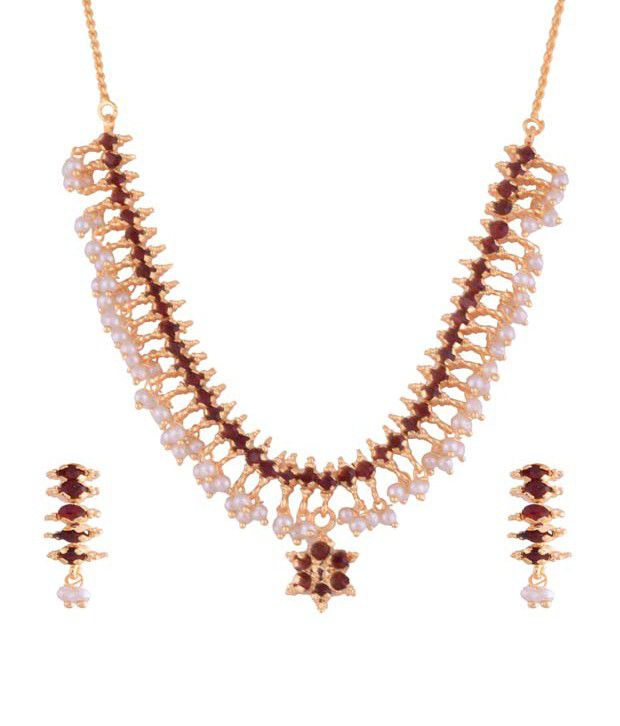 Ganapathy Gems Gold Plated Maroon Traditional Necklace Set