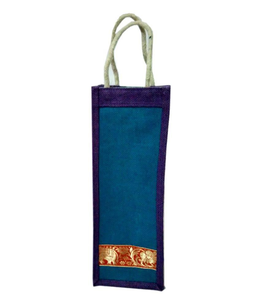 Kartikey Sales Blue Jute Bottle Bag