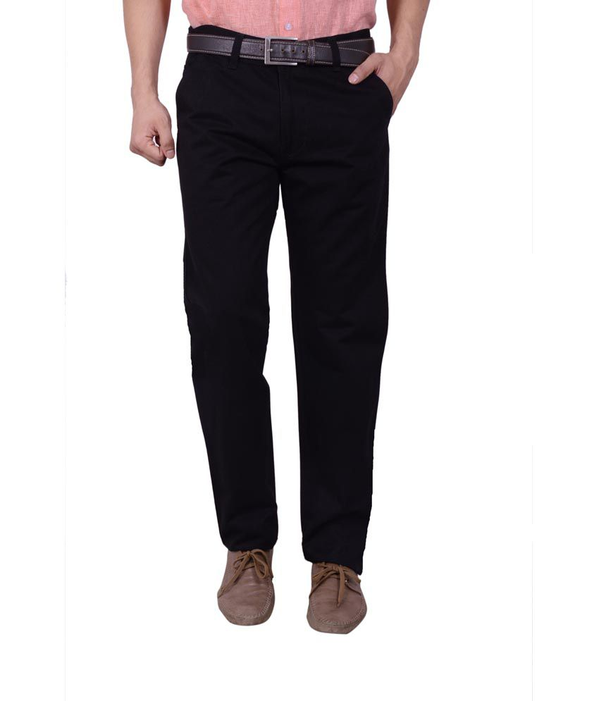 Studio Nexx Black Cotton Regular Fit Casual Chinos Trouser