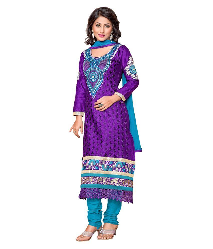 Sunsilk Purple Cotton Silk Embroidered Dress Material
