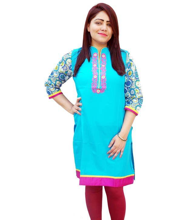 Aavaya Fashion Blue Cotton Printed V-neck Kurti