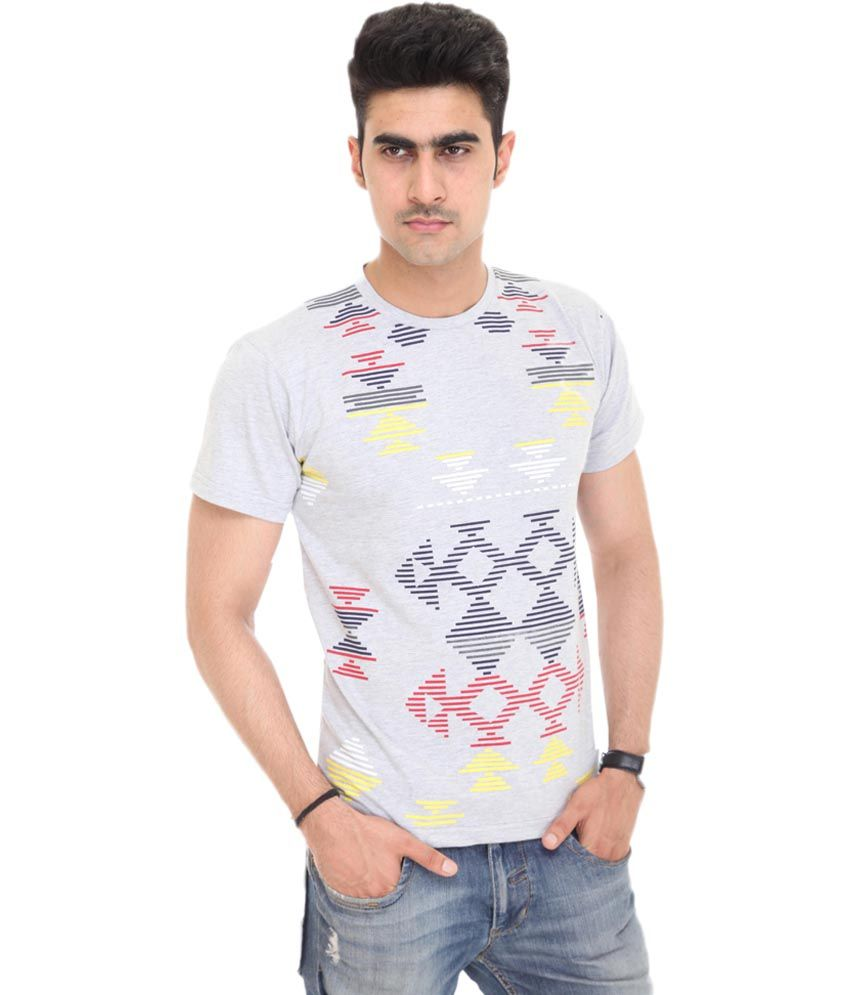 Colors & Blends Gray Cotton Blend Printed Round T-shirt