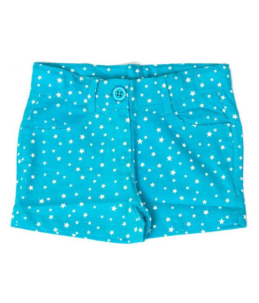 Bingbang Green Cotton Girl's Shorts