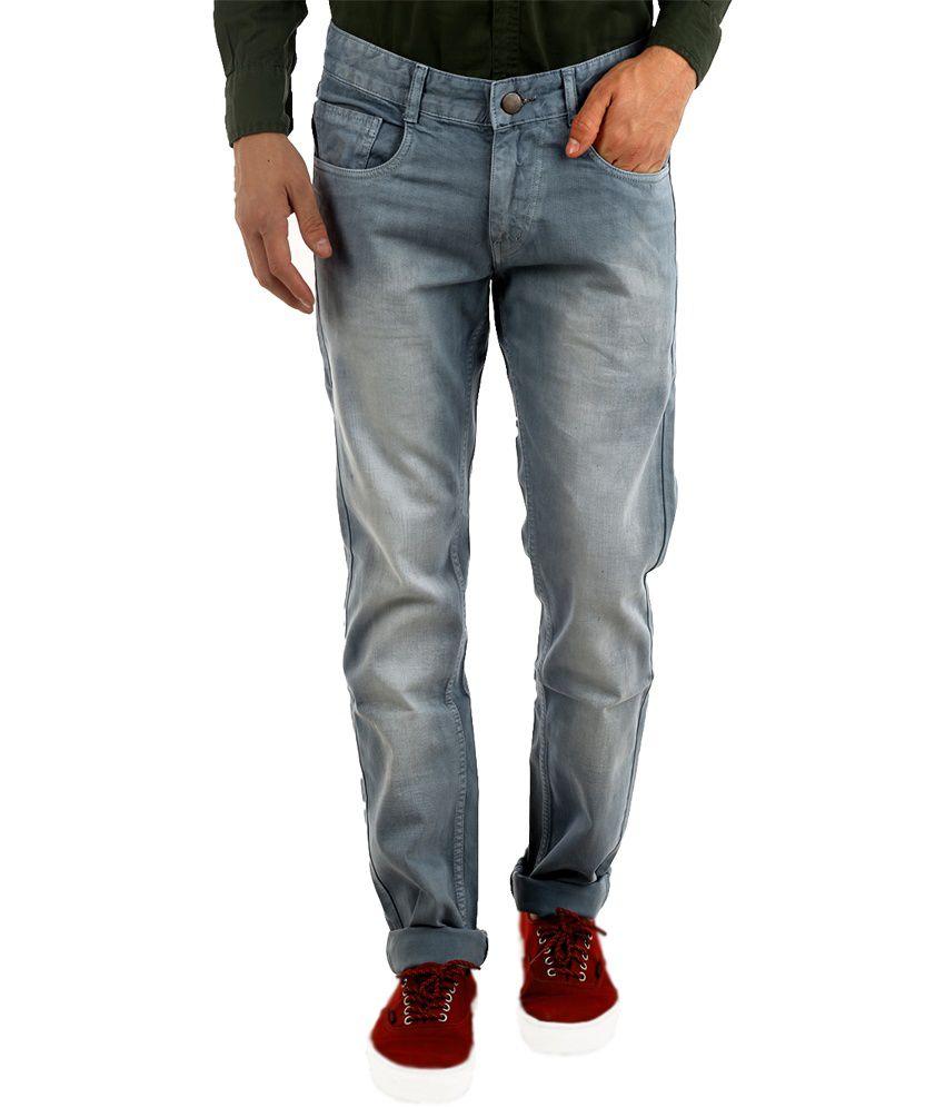 Naughty Walts Gray Cotton Faded Regular Jeans