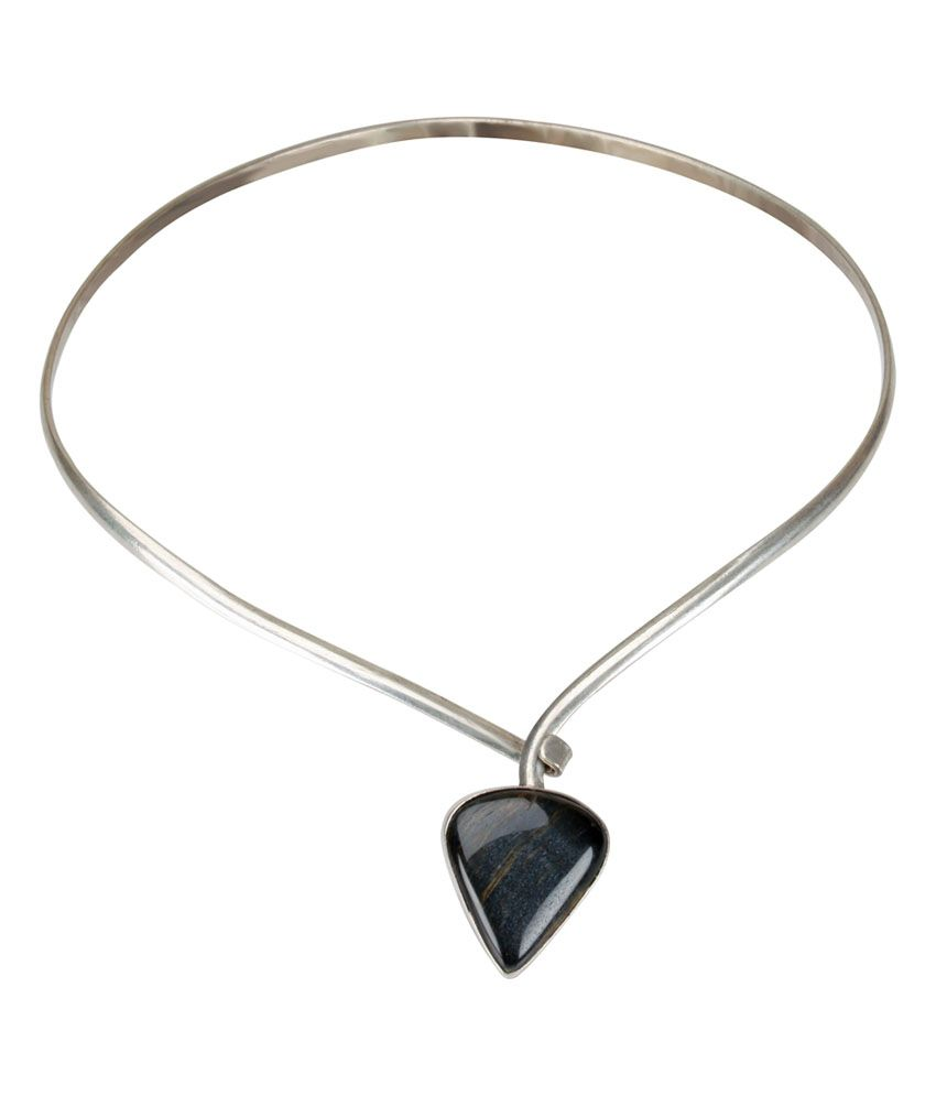 Rashisinha Semi Precious Black Agate Stone Necklace