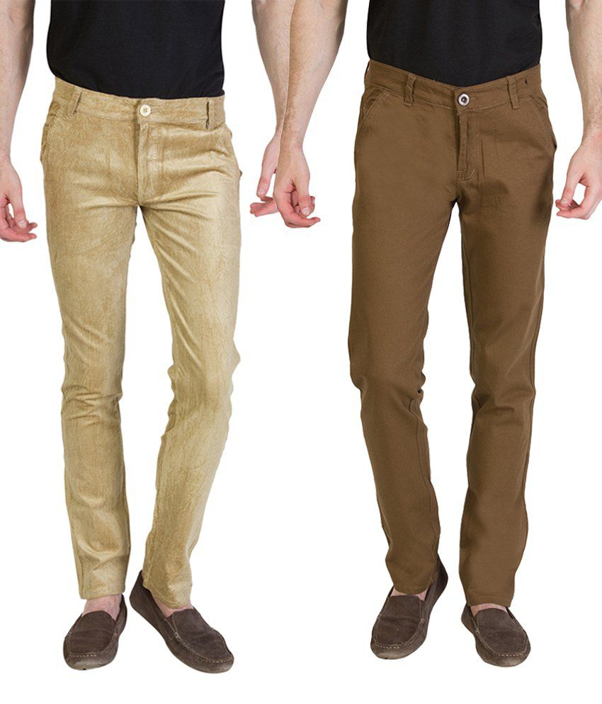 Bloos Jeans Alluring Combo Of 2 Beige & Brown Chinos For Men