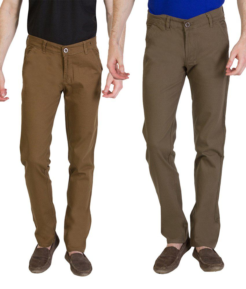 Bloos Jeans Appealing Combo Of 2 Brown & Khaki Chinos For Men