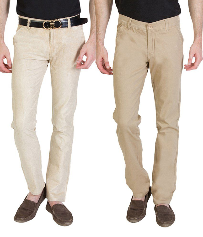 Bloos Jeans Attractive Combo Of Beige Trousers & Black Chinos For Men