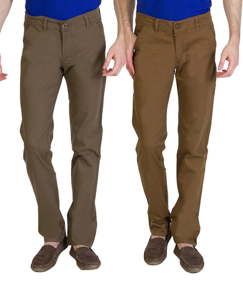 Bloos Jeans Combo Of 2 Brown & Beige Chinos For Men