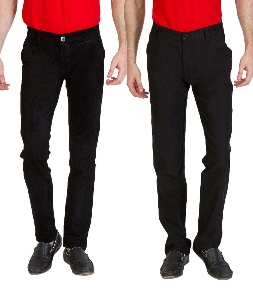 Bloos Jeans Combo Of Black Trousers & Green Chinos For Men