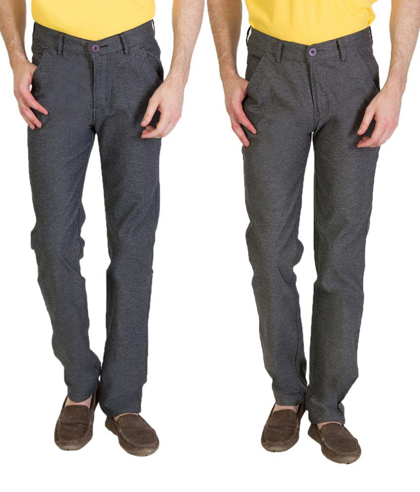 Bloos Jeans Remarkable Combo Of 2 Brown & Gray Chinos For Men