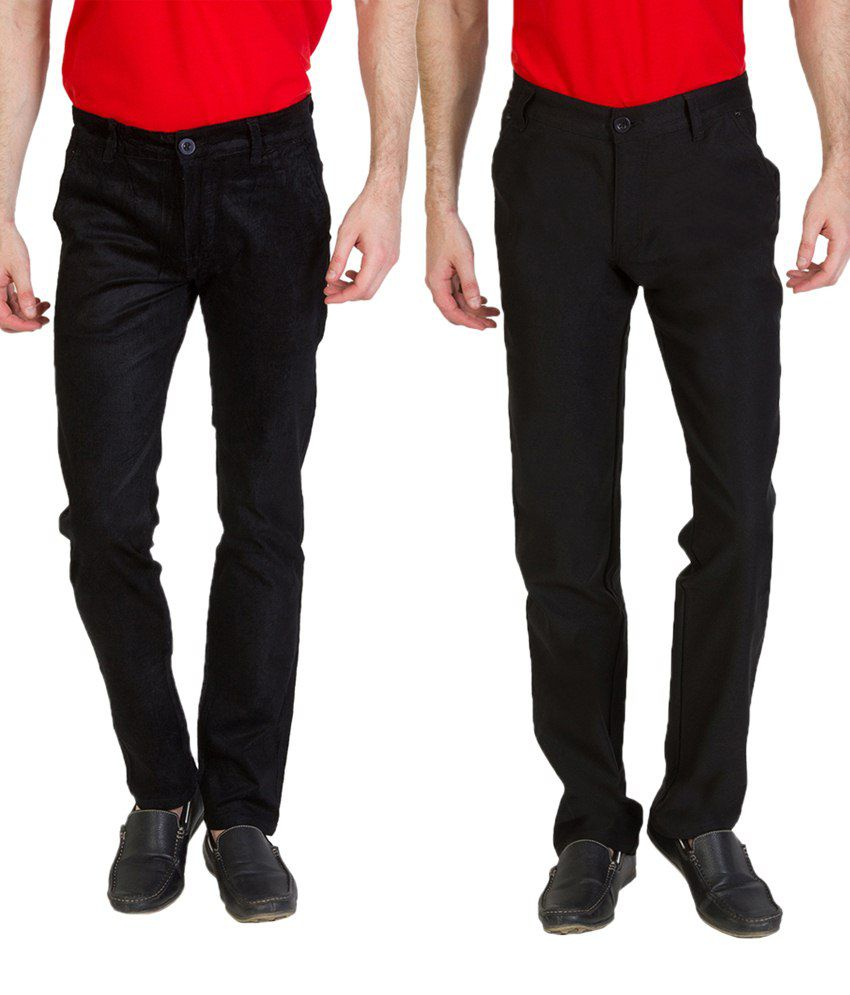 Bloos Jeans Sassy Combo Of Black Chinos & Black Trousers For Men